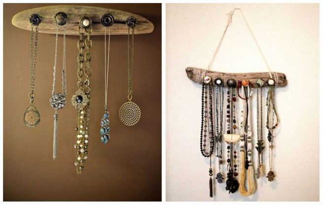 Driftwood Jewelery Necklace Holder Organizer