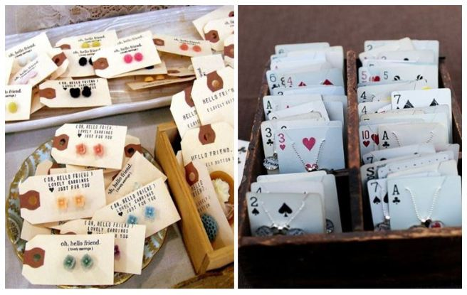 Old Cards Tags Jewellery Necklace Earrings Holder Organizer