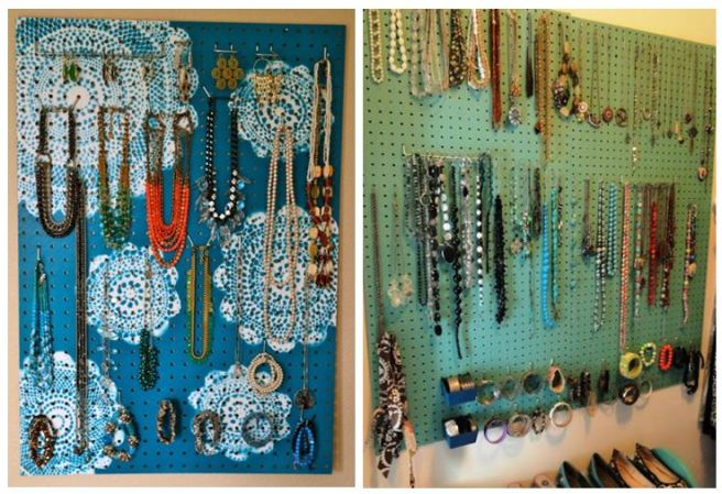 Pegboard Jewellery Necklace Earring Hoolder Organizer