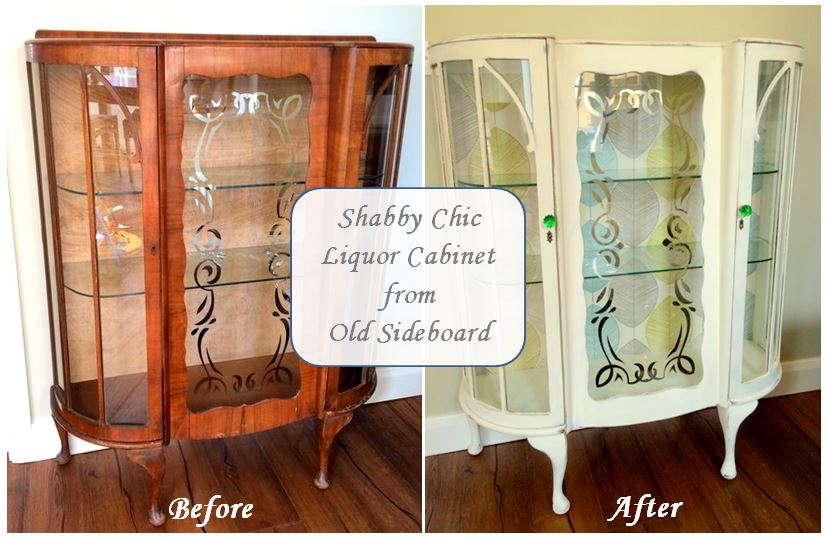Shabby Chic Liquor Cabinet From Old Sideboard
