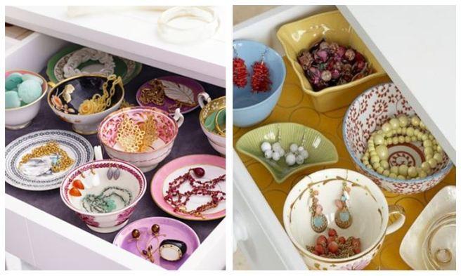 Teapots Saucers Jewellery HolderOrganizer