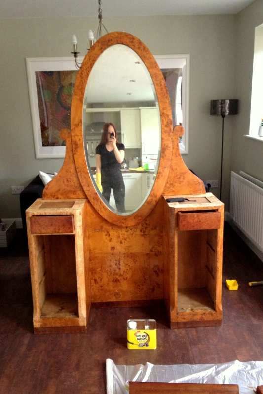 Art Deco Vanity Makeover progress