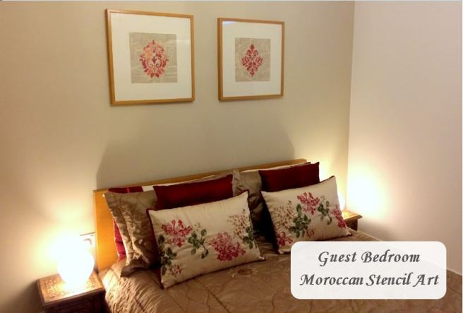 Guest Bedroom Moroccan Stencil Art